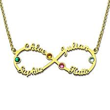 necklace with birthstones silver infinity 4 names necklace with birthstones