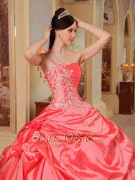 coral quince dress sweet coral quinceanera dress one shoulder taffeta gown