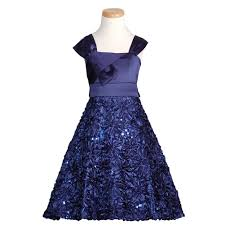 rare editions navy satin sequin flower bow christmas dress girls 7