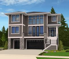 modern house plan for front sloping lot 85102ms architectural
