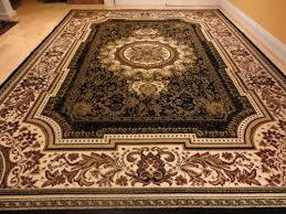 Black Large Rug Large Black 8x11 Rug Persian Style Oriental Rug Black Cream Area