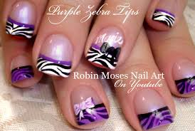 purple zebra tip nails black and white nail art design with bows