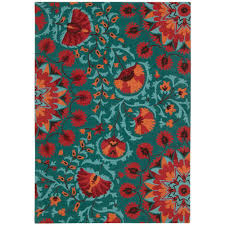 Red And Turquoise Area Rug Nourison Suzani Teal 5 Ft 3 In X 7 Ft 5 In Area Rug 139689