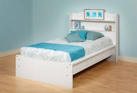 prepac white aspen twin platform bed with integrated headboard