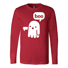 halloween boo ghost dislike men long sleeve t shirt