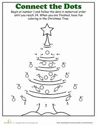christmas dot to dot tree worksheets kindergarten and holidays
