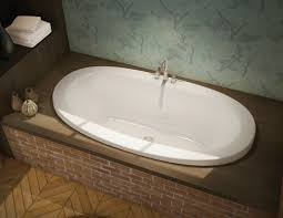 decor modern bathroom with maax bathtubs and brick tub surround