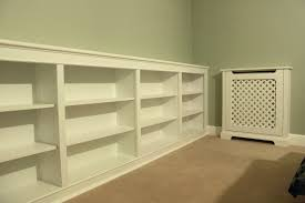 White Painted Oak Furniture Long White Painted Oak Wood Wall Bookshelves Which Furnished With
