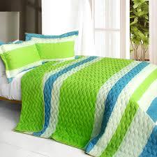 Teen Comforter Set Full Queen by Lime Green U0026 Blue Striped Teen Bedding Full Queen Quilt Bedspread Set