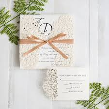 wedding invitations floral modern floral laser cut wedding invitations with chagne band