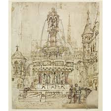 sketch for a fountain for the city of gloucester burges william