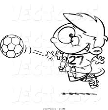 vector of a cartoon boy kicking a soccer ball outlined coloring