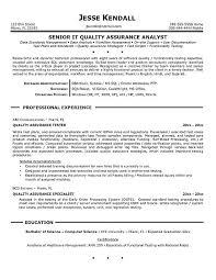 Sample Testing Resume For Experienced by Quality Assurance Resume Examples Quality Assurance Resume