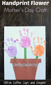 handprint flower pot craft coffee cups and crayons