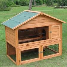 wooden rabbit hutch fsc safety painting with asphalt roof zinc