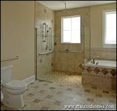 open floor plan bathroom open design and a no threshold shower along with strategic grab