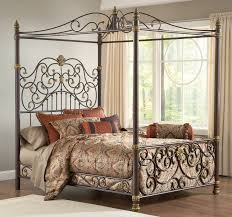 classy classic tall wrought iron bedstead with gold color accent