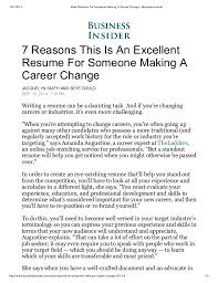 Sample Resume For A Career Change by Ideal Resume For Someone Making A Career Change Business Insider