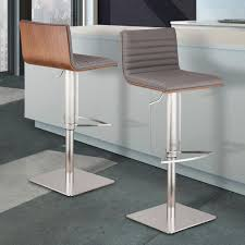 armen living cafe 31 41 in gray faux leather with brushed