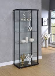 tempered glass shelves for kitchen cabinets 5 shelf glass curio cabinet black and clear coaster f