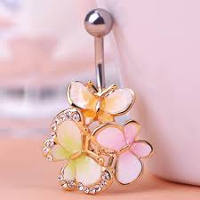 three butterfly piercing jewelry collar colorful enamel