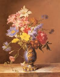 josef nigg paintings flowers in a blue vase