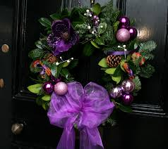 purple plum christmas door wreath beauty in purple