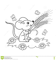 coloring page outline of cartoon little mouse with spikelets in