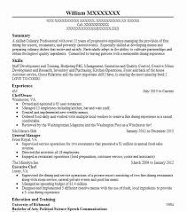 resume summary of qualifications for cmaa director of culinary restaurant operations resume exle table