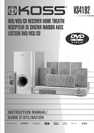 home theater dvd receiver koss home theater system ks4192 user guide manualsonline com