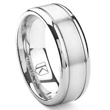 band ring cobalt xf chrome 8mm grooves wedding band ring