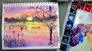 color mixing and brushes for beginners plus sunset painting
