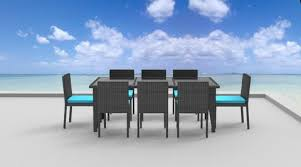 Wicker Patio Dining Sets 9 Piece Wicker Outdoor Patio Dining Set Gray Wicker Sea Blue