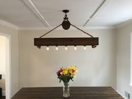 Vintage Dining Room Lighting 4 Ft Rustic Beam Edison Bulb Chandelier With Vintage Barn Pulley