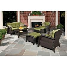 6 Seat Patio Table And Chairs Hanover Strathmere 6 Piece Deep Wicker Patio Seating Set With