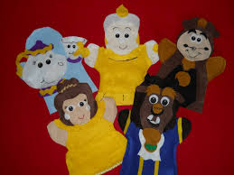 beauty and the beast hand puppets belle beast mrs potts candle