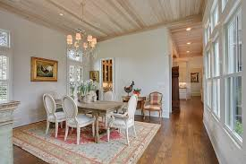 french country house dining room shabby chic style with light wood