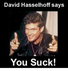 You Suck Memes - david hasselhoff says you suck girl meme on me me
