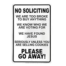 no soliciting go away front door sign home