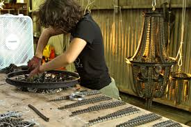 Making Chandeliers Photos Artist Survives By Creating Chandeliers Out Of Bike Parts