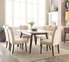 white marble top dining table set acme 72820 gasha contemporary white marble top walnut dining table