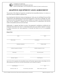equipment loan agreement format form contract template letter