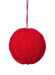 4in cable knit red ornament ball