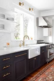 baltimore espresso cabinets kitchen transitional with brass