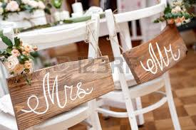mr and mrs sign for wedding mr mrs sign on the chair stock photo picture and royalty free