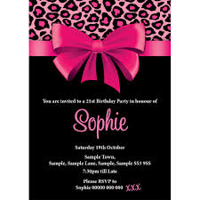 pink leopard skin and bow special birthday invite buzz invites