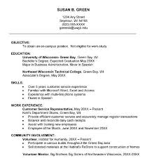 Resume Outline Examples by College Freshman Resume Best Resume Collection