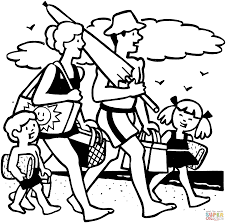 family beach picnic coloring free printable coloring pages
