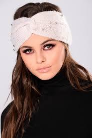 knit headband pearl drop knit headband beige