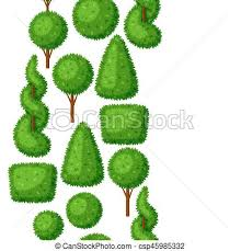vectors of boxwood topiary garden plants seamless pattern with